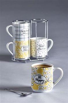 Buy Set Of 4 Happiness Stacking Mugs from the Next UK online shop