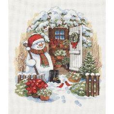 """ディメンジョンズ クロスステッチ 刺繍キット""""庭の納屋とゆきだるま""""   Dimensions Needlecrafts Counted Cross Stitch, Garden Shed Snowman  DIM クロスステッチキット Garden Shed Snowman  【並行輸入品】"""