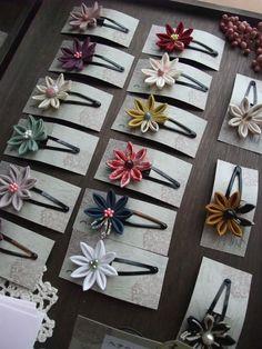 Kanzashi Ribbon Art, Ribbon Hair Bows, Diy Hair Bows, Ribbon Crafts, Flower Crafts, Ribbon Headbands, Kanzashi Flowers, Felt Flowers, Fabric Flowers