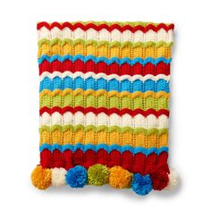Caron Cheerful Ripple Knit Blanket Pattern | Yarnspirations