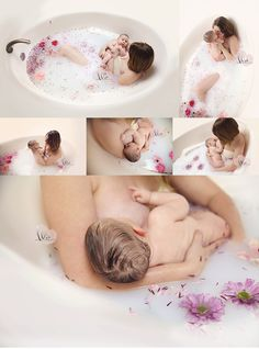 Family Photography, milk bath photography, baby, bubble bath, flower bath, floral bath, breastfeeding images, nursing images,