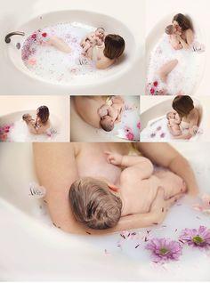 Family Photography, milk bath photography, baby, bubble bath, flower bath, floral bath, breastfeeding images, nursing images,