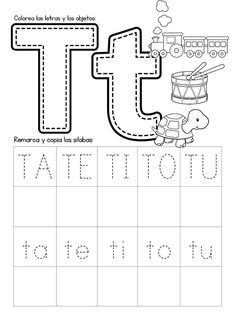 Mi Cuadernillo de Sílabas - Imagenes Educativas Letter T Activities, Preschool Letters, Color Activities, Letter Tracing Worksheets, Preschool Worksheets, Preschool Activities, Spanish Lessons For Kids, Learning Spanish, Pre Writing