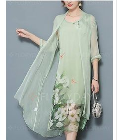 Women& Plus Size Going out Street chic Two Piece Dress,Floral Peter Pan Collar Midi ½ Length Sleeve Polyester Nylon Summer Fall Mid Rise – GBP £ Fashion Vestidos, Fashion Dresses, Two Piece Dress, Spring Dresses, Chinese Style, Street Chic, Mother Of The Bride, Dresses Online, Designer Dresses