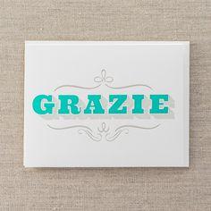 Grazie - Letterpress Greeting Card, By Pike Street Press - Seattle