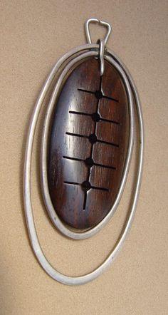 Milton Cavagnaro: wood and sterling  pendant