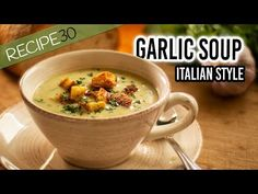 Garlic Soup Italian style with crispy croutons Dinner Soup – Dinner Recipes Chowder Recipes, Soup Recipes, Cooking Recipes, Easy Recipes, Slow Cooking, Italian Soup, Italian Recipes, Garlic Soup, Recipe 30