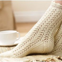 I found this Mary Maxim - Free Lace Socks Knit Pattern - Free Patterns - Patterns & Books Lace Socks, Crochet Slippers, Knit Or Crochet, Lace Knitting, Knitting Socks, Knit Socks, Knit Lace, Knitting Patterns Free, Knit Patterns