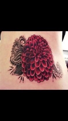 Dahlia and lace leaf tattoo                                                                                                                                                      More