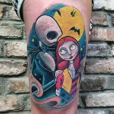 nightmare before christmas tattoo art Jack Tattoo, Tattoo Set, Cover Up Tattoos, Body Art Tattoos, Cool Tattoos, Tatoos, Jack Skellington, Halloween Tattoo, Nightmare Before Christmas Tattoo
