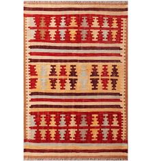 With a distinctive style, a gorgeous area rug from Afghanistan will add some splendor to any decor. This Kilim flat weave area rug is hand-woven with a geometric pattern in shades of red, ivory, green, beige, brown, and light blue.