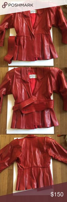 Red leather jacket This vintage red leather jacket is in amazing shape and is very vibrant Jackets & Coats