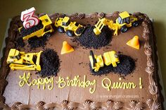 construction cake   so proud of this cake. It's a chocolate sheet cake from Costco ...