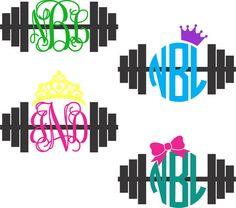 Barbell Monogram Decal Crossfit by ChicksDigVinyl on Etsy Vinyl Crafts, Vinyl Projects, Cricut Vinyl, Vinyl Decals, Cricut Air, Plotter Cutter, Vinyl Monogram, Vinyl Cutter, Silhouette Machine
