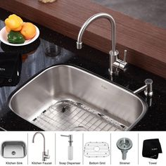 This stainless steel undermount kitchen sink by Kraus is made from a heavy duty 16-gauge grade T-304 stainless steel. The unit is a combination sink, soap dispenser and single-lever faucet that makes for an attractive centerpiece in any kitchen.