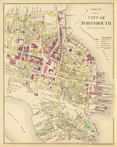 Map of Portsmouth (NH) - Vintage plan of Portsmouth - Old city map archival print on paper or canv Portsmouth New Hampshire, Portsmouth Va, Vintage Maps, Vintage Wall Art, Venice Map, Picture Frame Art, Manchester New, Old Maps, City Maps