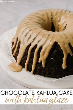 Like anyone needed an excuse to eat more chocolate cake. I make this Kahlua spiked dessert because it's elegant enough to serve at a dinner party, yet cozy enough to make it just because. I recommend glazing the cake the day you are going to serve and only when the cake has cooled completely. The glaze will begin to infuse into the cake after just one day. #chocolate #kahlua #cake #bundt #chocolatebundtcake #chocolatekahluacake #kahluaglaze Pound Cake Recipes, Cupcake Recipes, Baking Recipes, Cookie Recipes, Cupcake Cakes, Bundt Cakes, Food Cakes, Cupcakes, Quick Easy Desserts