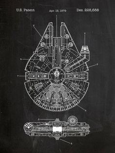 Star Wars Millenium Falcon-sérigraphie - Millenium plan conception brevet mise en route, art de l
