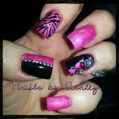 Hot pink black rhinestones bling gel nails zebra