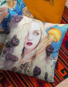 abaf82db2ba31 Curious Dreams Square Print Pillow by Julia Gabrielov   Devious Elements  Apparel