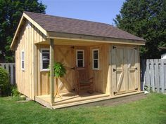 base porch side walls pitch roof 4 operating windows man door access door Hardwood base and floor 40 year shingles Board and Batten exterior Diy Storage Shed, Diy Shed, Storage Ideas, Pool Shed, Backyard Sheds, Outdoor Tools, Outdoor Sheds, Farmhouse Sheds, Shed With Porch