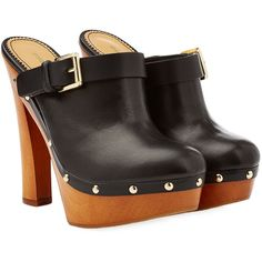 Dsquared2 Leather Clogs ($325) ❤ liked on Polyvore featuring shoes, clogs, heels, black, black clog shoes, clog shoes, high heeled footwear, heeled clogs and black shoes