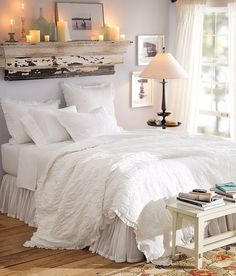 Love the headboard idea. Love the white bedding but I self tan too much for that :/