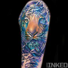 Colorful tiger by Nick Chaboya #InkedMagazine #tiger #colorful #art #tattoo #inked #ink #tattoos #animal