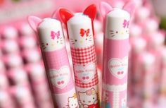 """Super Cute Hello Kitty Retractable Ballpoint Pens *2 retractable pens in one barrel *Blue and red ink *Pen measures 4.75"""" (Please note this is a tad smaller than your average pen length wise) *3 style"""