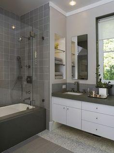 baddesign mit grauen fliesen und einer duschkabine - 77 Badezimmer-Ideen für jeden Geschmack