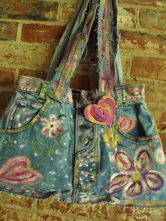 Love!! Fab, Funky, Upcycled. Handpainted, Refashioned Jeans, Denim Bag. $38.00, via Etsy.