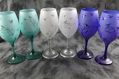 The Birds in Trees  Frosted Wine and Tumbler Glasses Set Of 2 in  Aqua, yellow,Blue, clear or green by DeeLuxDesigns on Etsy