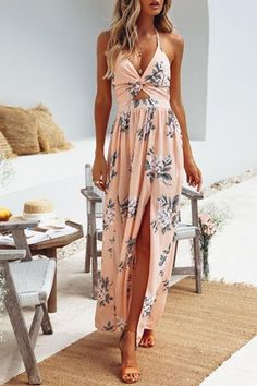 Pink Floral Bohemian Halter Summer Maxi Dress