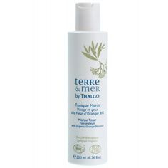 Thalgo Terre and Mer Marine Toner made with Camargue Salt and Organic Orange Blossom to sooth and soften skin. Can be used as a make-up remover.