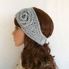 Crochet headband headwrap ear warmer with by SandyCoastalDesigns, $17.00