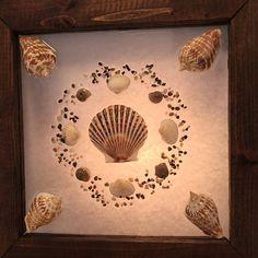 Items similar to Beach Glass Art, Sea shell Art, Nautical Art, Wreath, Coastal Decor on Etsy Seashell Frame, Seashell Art, Nautical Wreath, Nautical Art, Beach Canvas Art, Scallop Shells, Coastal Decor, Sea Shells, Framed Art