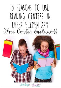 Reading centers are perfect for upper elementary students. Read this post for five reasons why. Also, grab an upper elementary themed reading center for FREE!