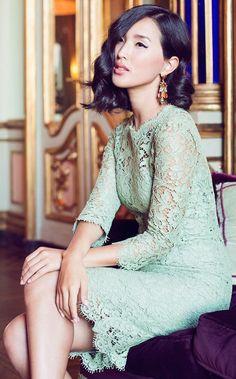 Lace mild mint dress