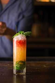 Queen's Park Swizzle: Rum, Lime, Sugar, Mint, Angostura Bitters, and Peychaud's Bitters from Bartenders Kiowa Bryan and Chris Amirault of The Eveleigh – Los Angeles, CA #cocktail #spirits #rum