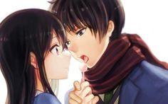 девушка аниме конфета шарф парень