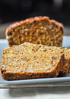 Pumpkin Raisin Nut Bread made healthier with a couple secret ingredients.