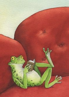 I love this: Frog reads Grimm's Fairy Tales © Daniel SOHR (Illustrator, Germany). Art And Illustration, Frosch Illustration, Funny Frogs, Cute Frogs, Frog Pictures, Frog Art, Grimm Fairy Tales, Frog And Toad, Whimsical Art