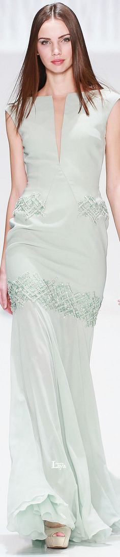Tony Ward ~ Spring Mint Green Embroidered Maxi Dress 2015