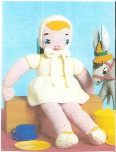 Vintage Knitted Doll Pattern 22 inches Tall Fully by dianeh5091