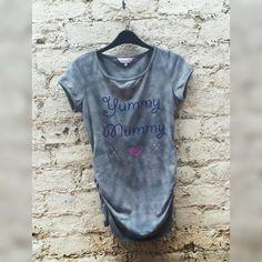 Maternity Tshirt Tie Dye Black & Grey &;Yummy Mummy&; with Elasticated Sides to fit size Small Hippie Boho Maternity Wear