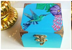 Pretty turquoise hand painted trinket box, gift for her, with humming bird and tropical flowers. Pink interior, tropical style, summer feel