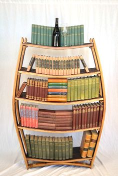 Bookcase made from a wine barrel $600.00, via Etsy.