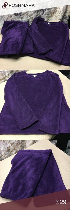 """CHARTER CLUB  Women's Lounge set 💜 NWOT SZ L Omg.  You will LOVE putting this on to lounge and snuggle for a """"Chill out"""" Day !!!  💜😀. Very soft and Comfy.  Top and pants.  💯 Polyester.   NEVER WORN. PERFECT CONDITION 💜😀 Intimates & Sleepwear"""