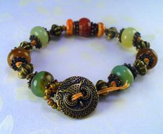 Owl Rustic Knotted Boho Brass Bracelet  Jade by RoEnchantedDesigns, $18.00