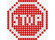 Stop hama beads pattern Pearler Bead Patterns, Perler Patterns, Pearler Beads, Quilt Patterns, Stitch Patterns, Hamma Beads Ideas, Tapestry Crochet Patterns, Iron Beads, Beaded Cross Stitch